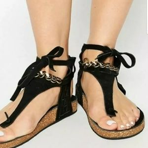 Free People black Collins wrap sandals size 36 / 6